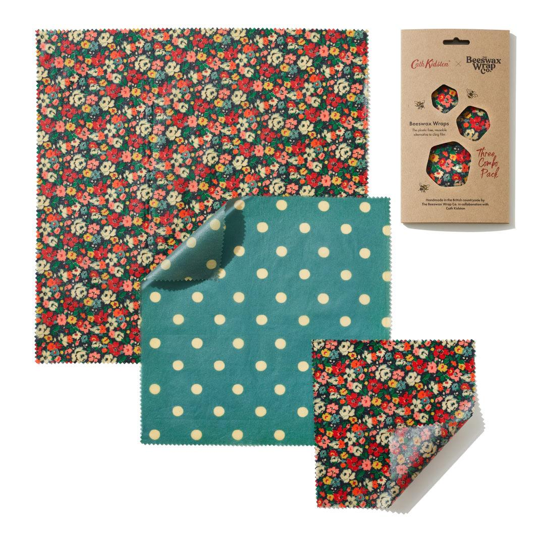 Organic Cotton Beeswax wraps - CATH KIDSTON MEWS DITSY - Three Combo