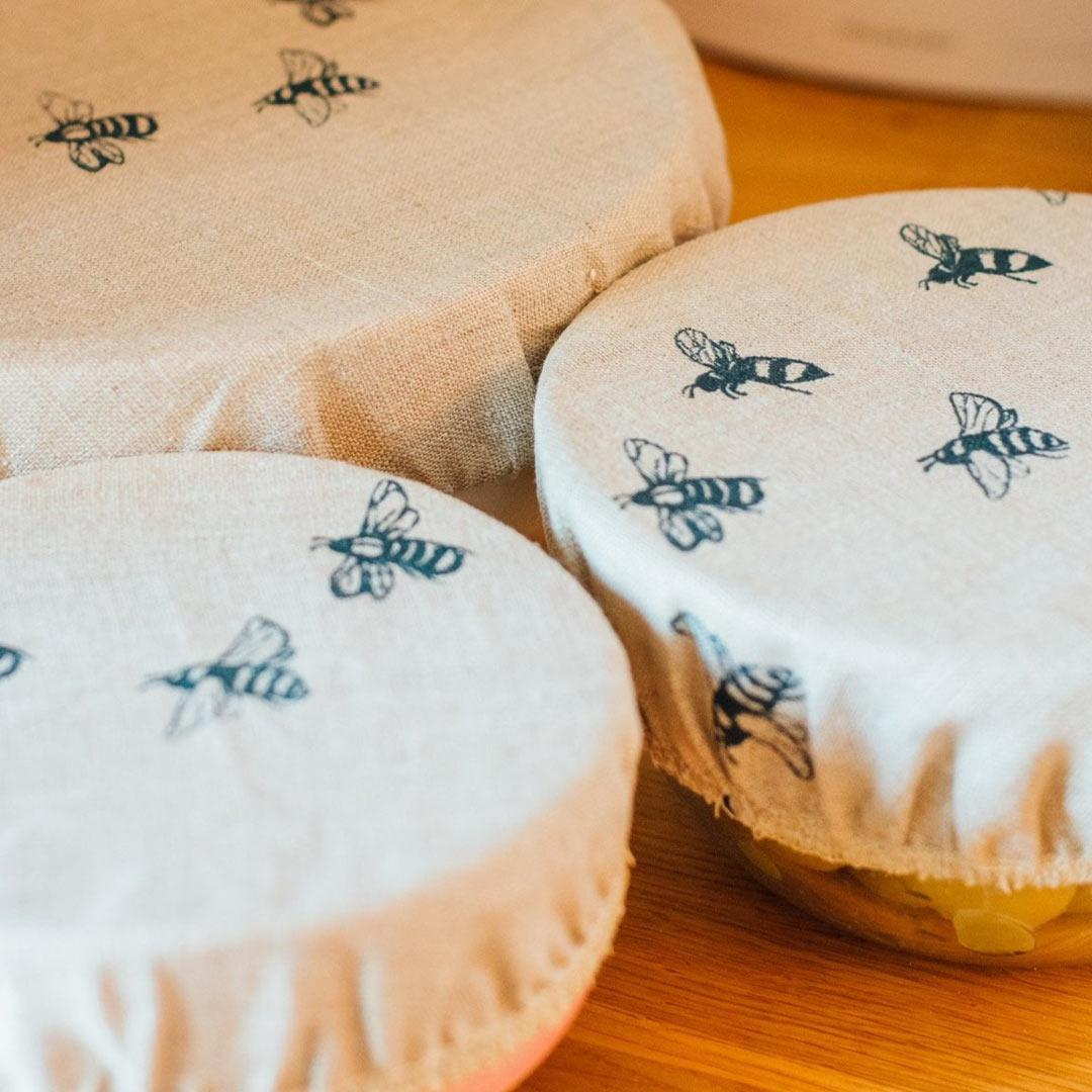Hand Printed Linen Bowl Covers - Set of 3 - Honey Bee close up