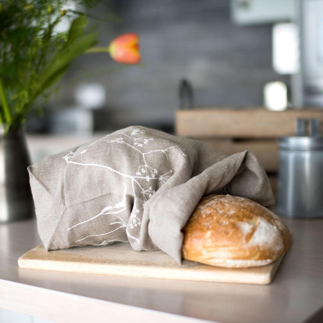 Hand Printed Linen Bread Bag - Hedgerow Collection - natural with bread