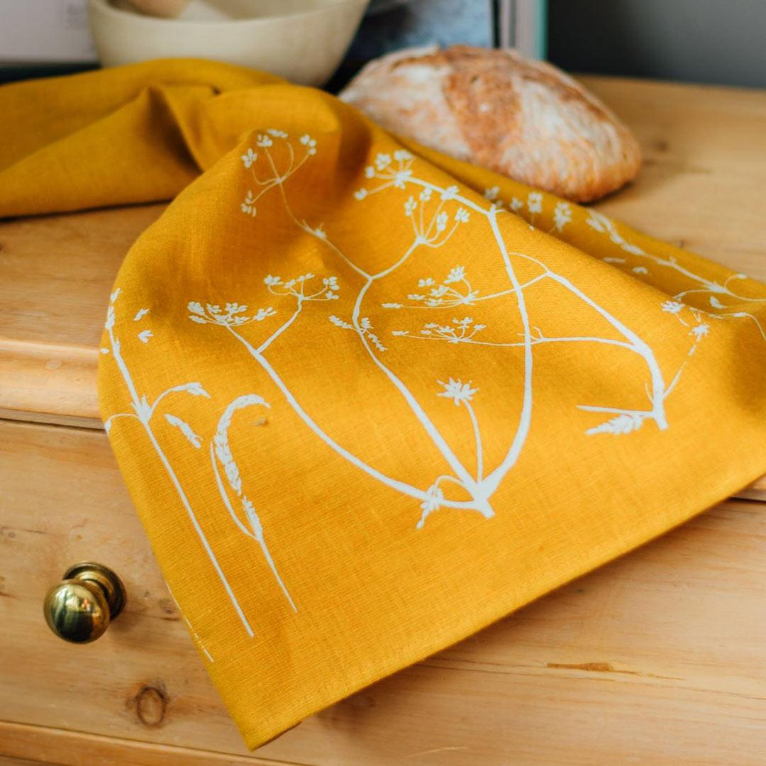 Hand Printed Linen Tea Towel - Hedgerow Collection - Mustard