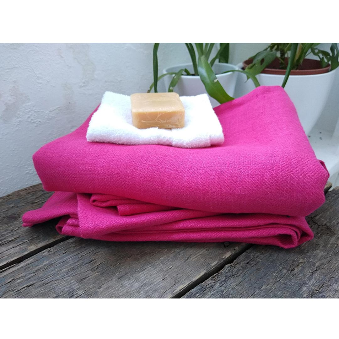 100% Linen Beach/Bath Towel - Lara Bright Pink with flannel and soap