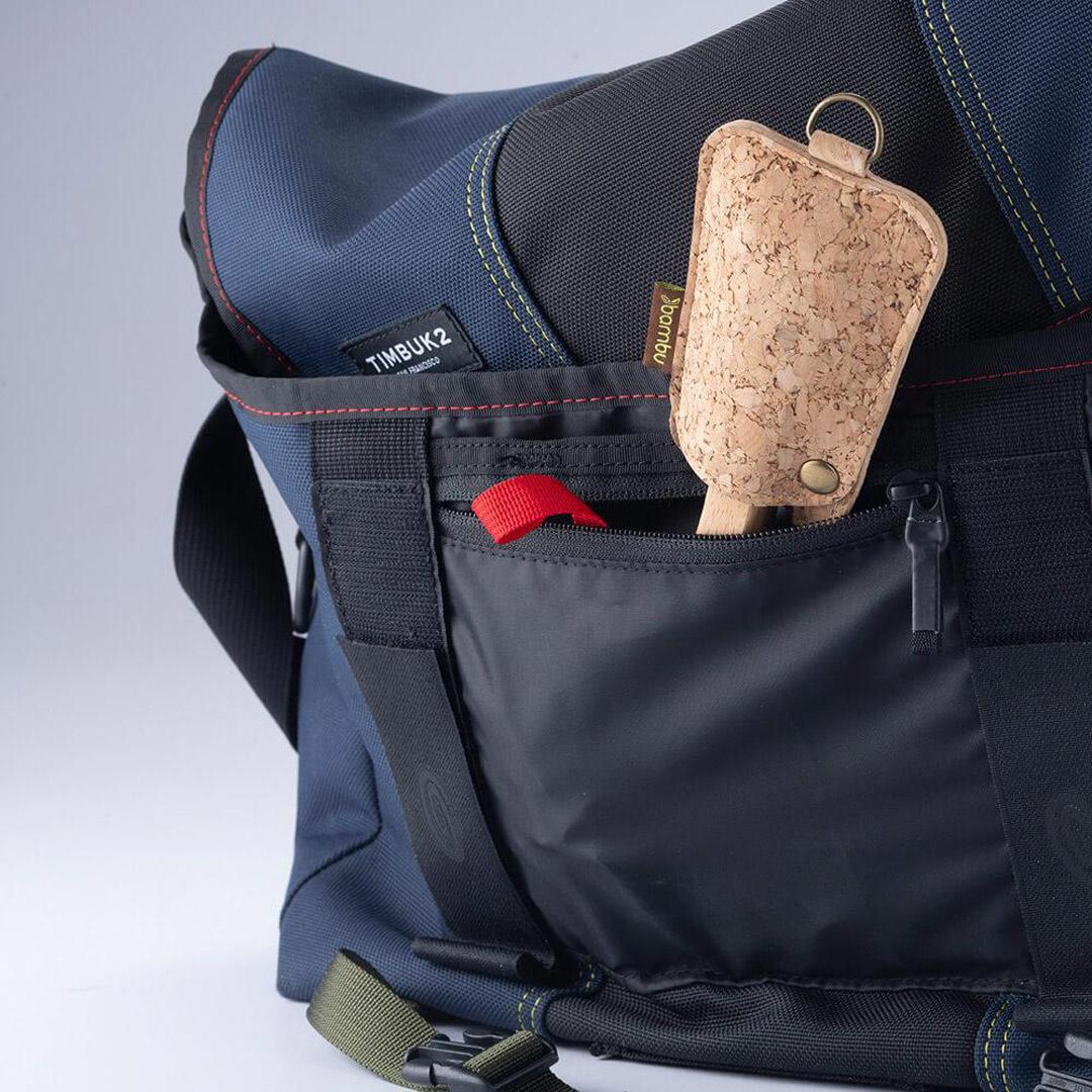 Bamboo and Cork Utensil Travel Set in backpack