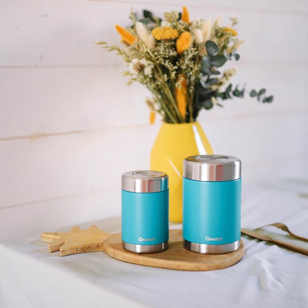 Insulated Stainless Steel Food Jar - Turquoise - 340ml and 650ml