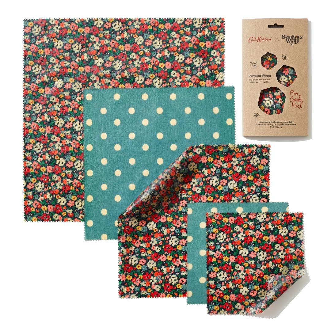 Organic Cotton Beeswax wraps - CATH KIDSTON MEWS DITSY - Five Combo