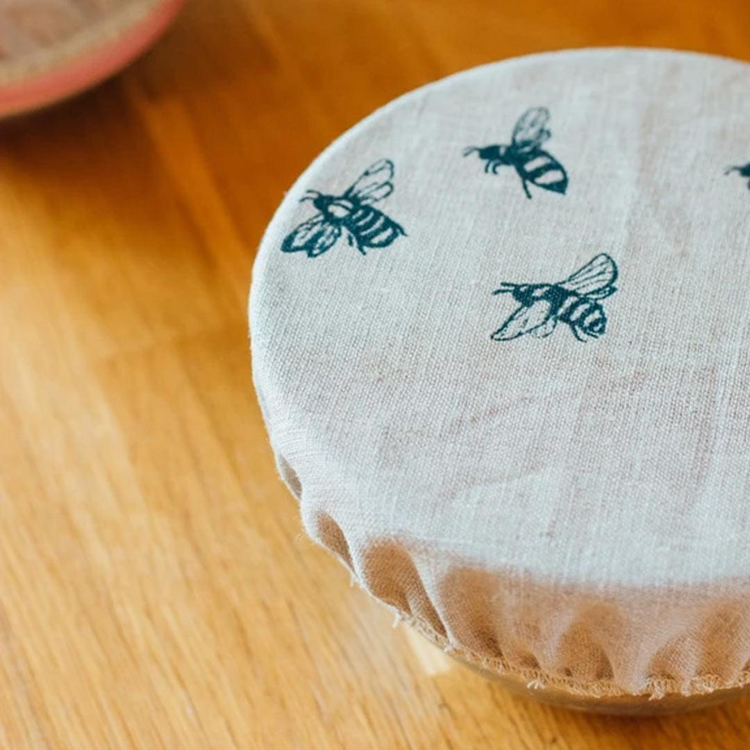 Hand Printed Linen Bowl Covers - Set of 3 - Honey Bee