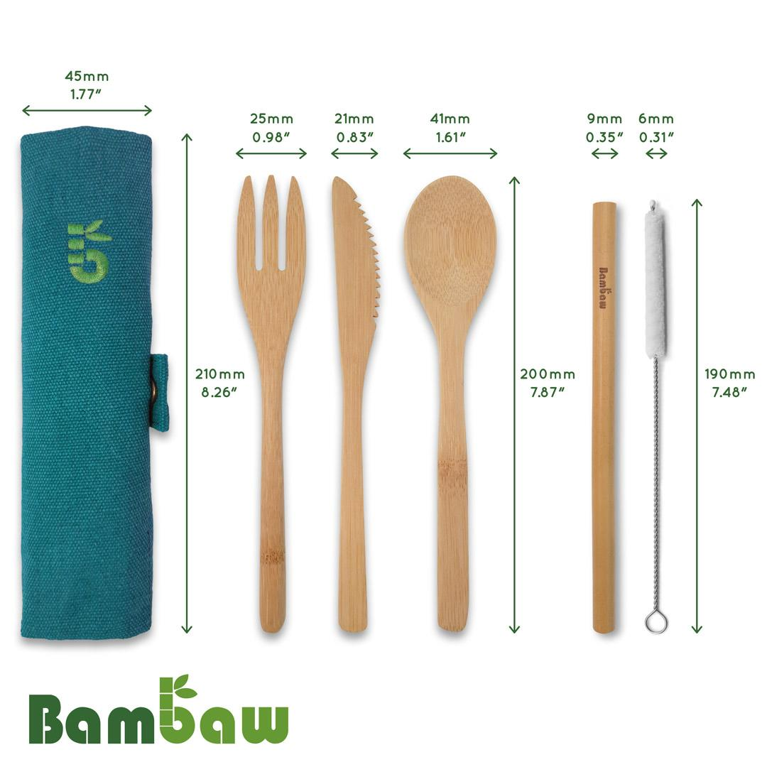 Bamboo Cutlery Set in Cotton pouch diagram showing sizes