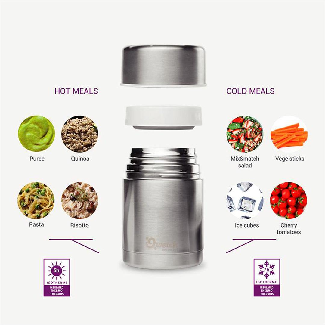 Insulated Stainless Steel Food Jar - Wood - 650ml features
