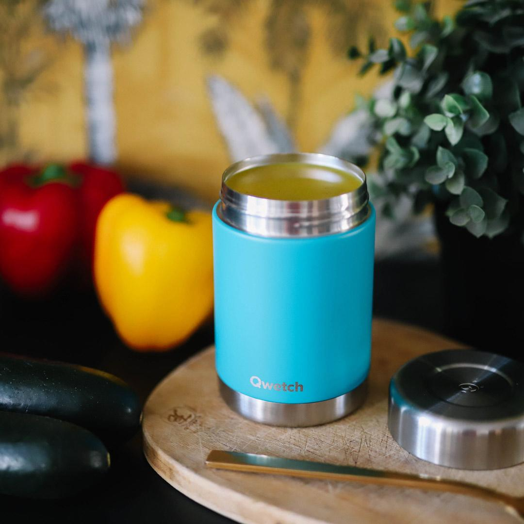 Insulated Stainless Steel Food Jar - Turquoise - 340ml or 650ml in use