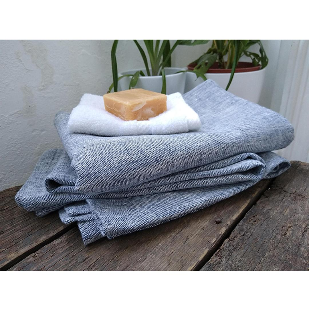 100% Linen Beach/Bath Towel - Francesca Indigo with flannel and soap