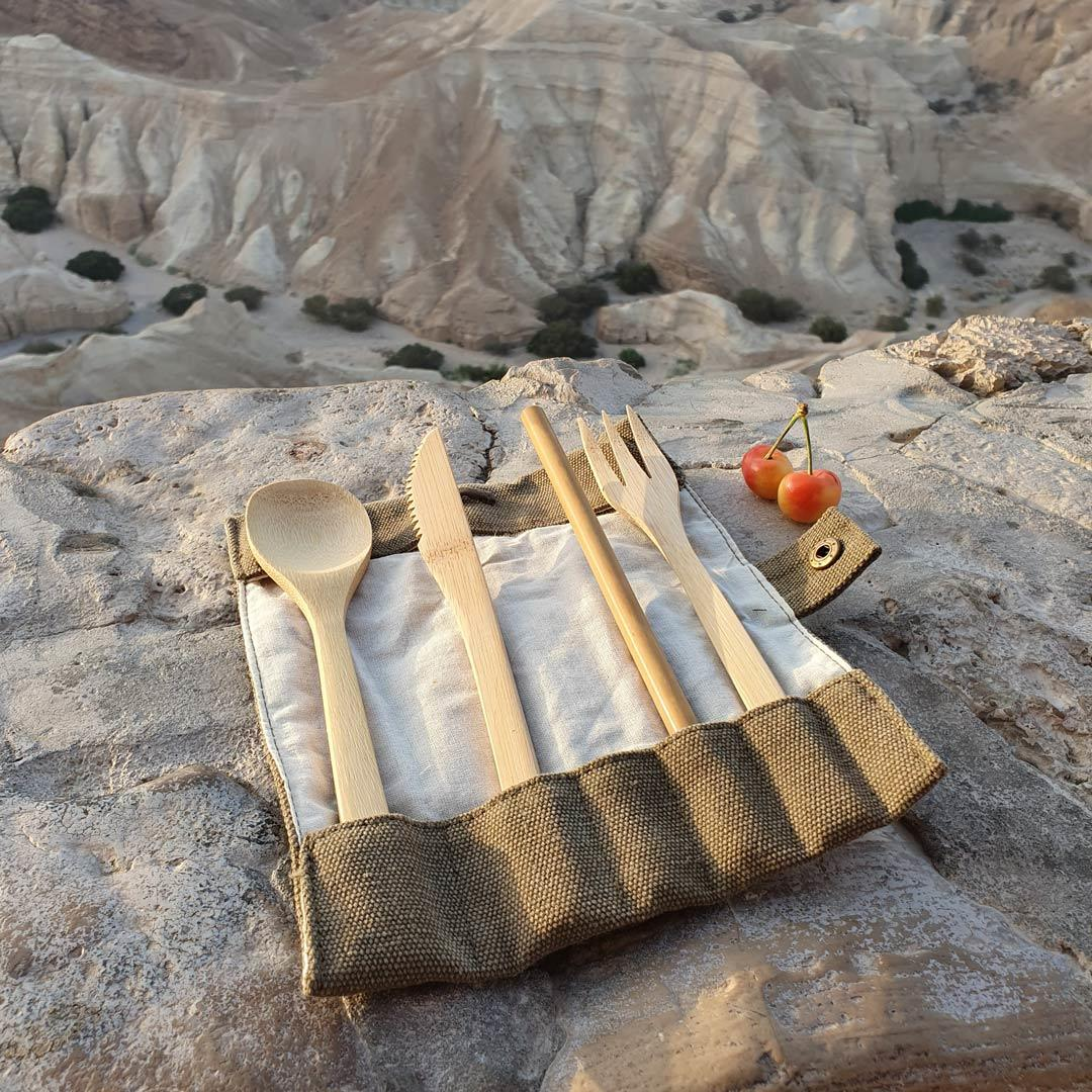 Bamboo Cutlery Set in Cotton pouch in use