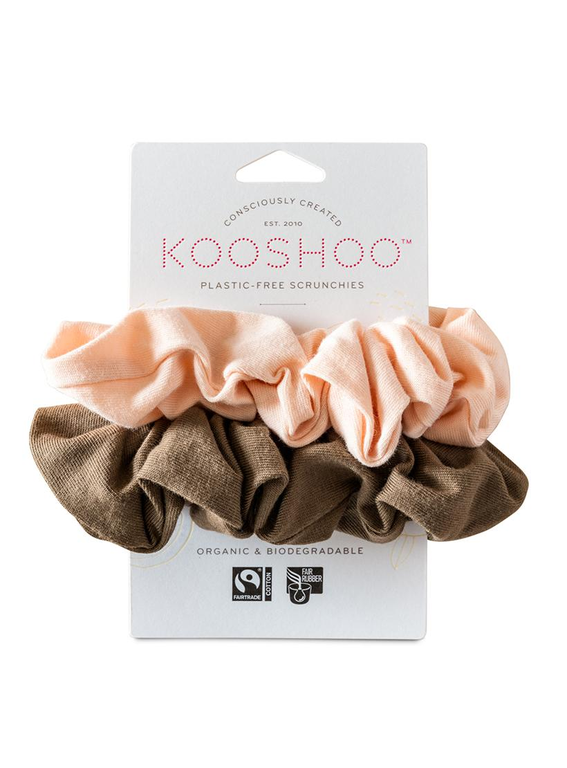 Organic Plastic Free Scrunchies - Pack of 2 - Blush Walnut front