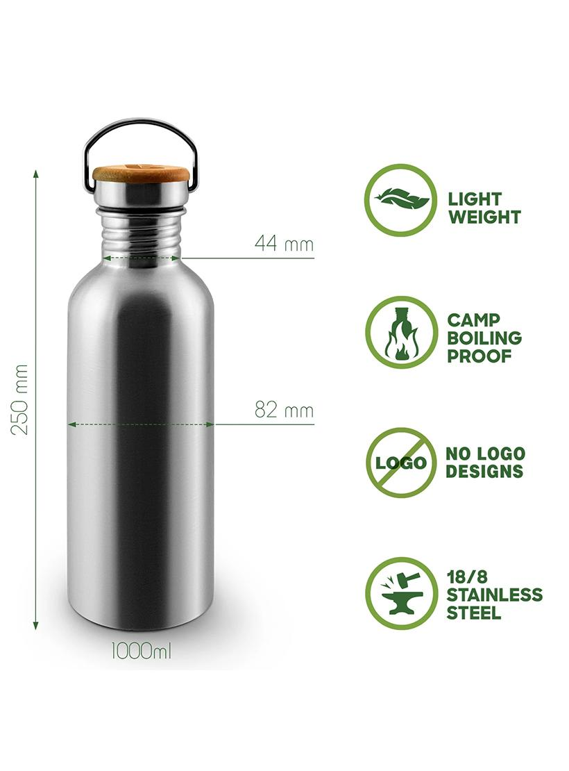 1 Litre Stainless Steel Water Bottle - Bambaw features