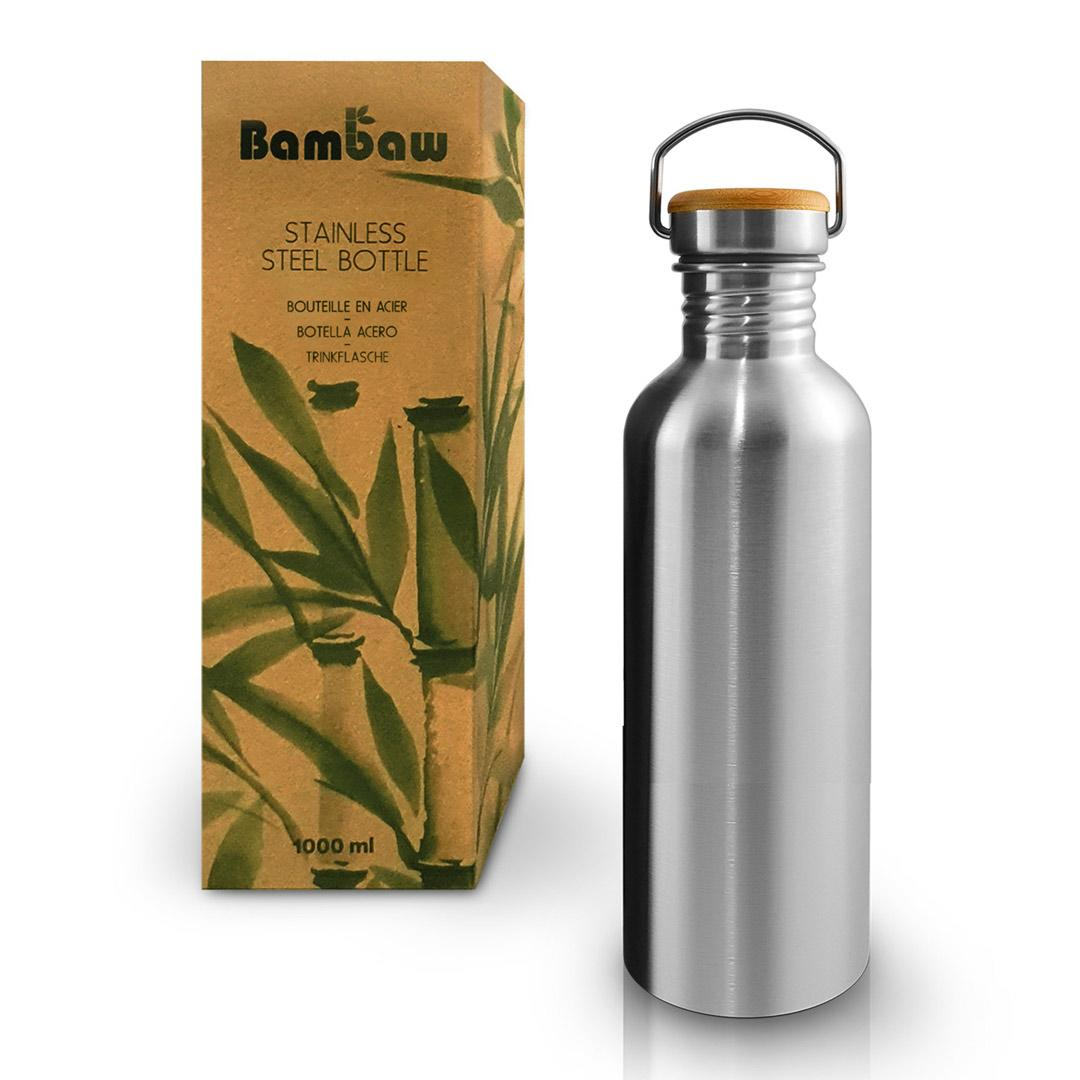 1 Litre Stainless Steel Water Bottle - Bambaw with box