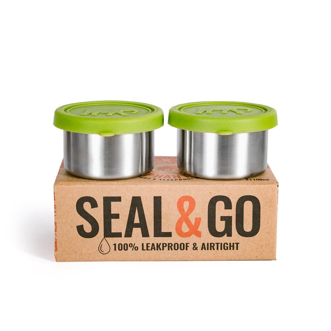 Elephant Box Seal & Go Stainless Steel Snack Pots - 2 x 100ml