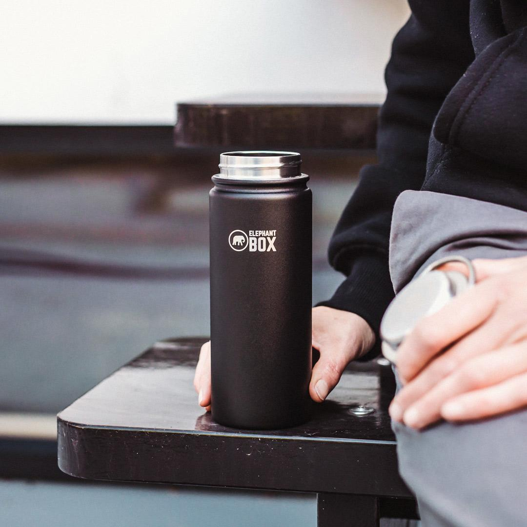 Elephant Box - Wide Mouth Insulated Bottle Black - 500ml