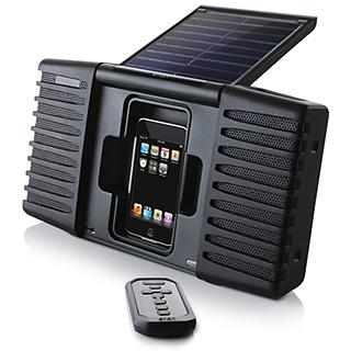 Soulra - Black Solar-Powered Sound System for iPod and iPhone