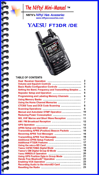 Yaesu FT3DR Mini-Manual Quick Easy FT3 User Guide 1