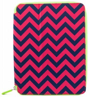 PUNCHCASE ACE ZIP AROUND STANDING COVER DEEP PINK/NAVY CHEVR