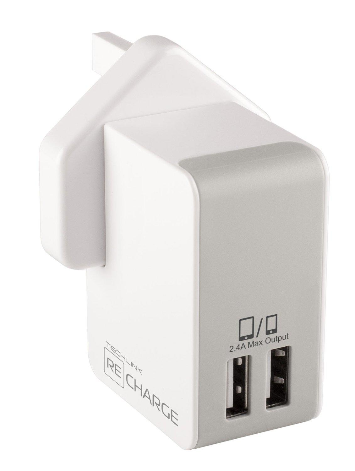 Techlink ReCharge 2.4A Wall Charger with Dual USB Output