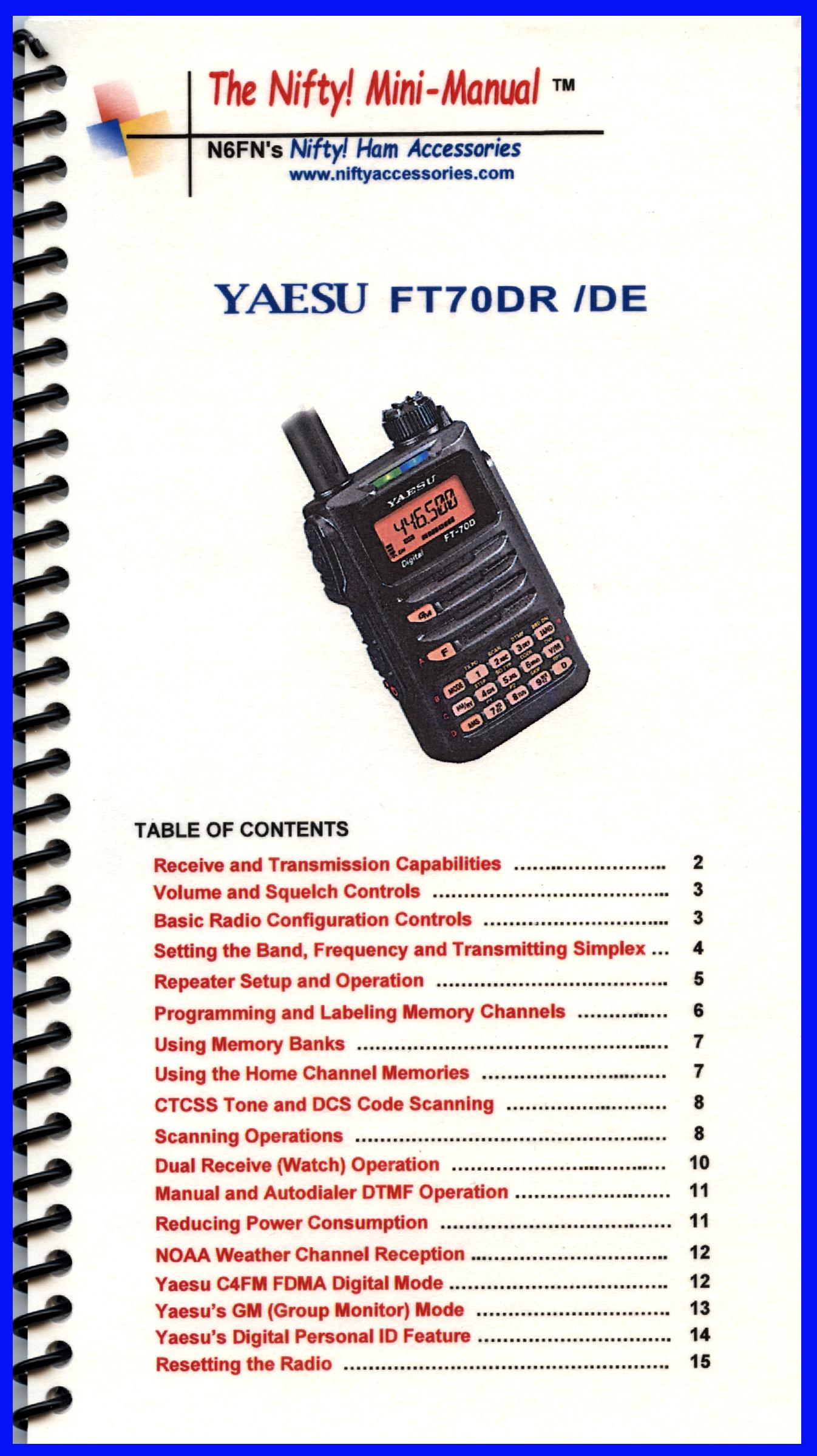 Yaesu FT-70DR Mini-Manual