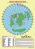 GRTS-MAP Great Circle DX Desk map A4 size full colour