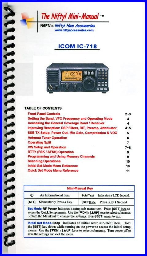 IC-718 Nifty Mini Manual