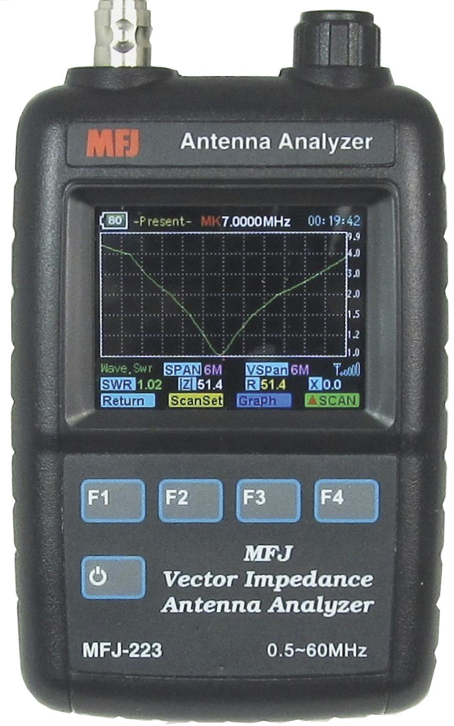 MFJ-223 Color Graphic VNA Antenna Analyzer 1-60Mhz