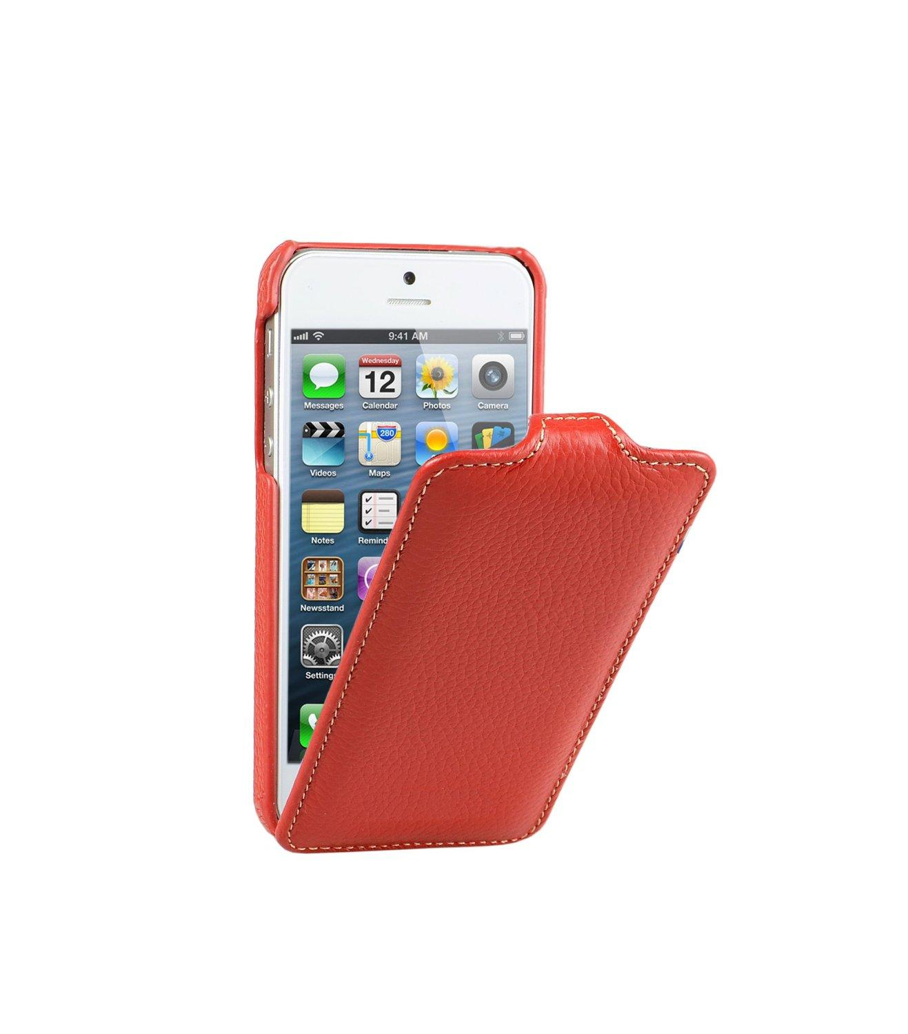 Decoded Apple iPhone 5 Leather Flip Case in Red