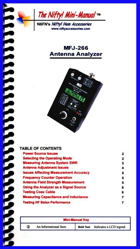 Nifty Manual MFJ-266 B C Analyzer Mini-Manual 1