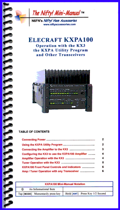 Elecraft KXPA100 Amplifier Mini-Manual 1