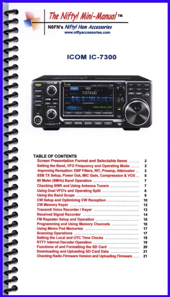 Icom IC-7300 Nifty Mini-Manual