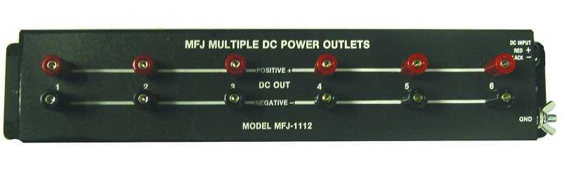 MFJ-1112 - 15 Amp Multiple DC Power Outlet Strip and 6 Outputs