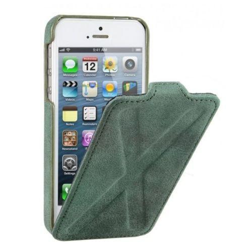 Decoded iPhone 5 5S Leather Flip Case Cross Design Green