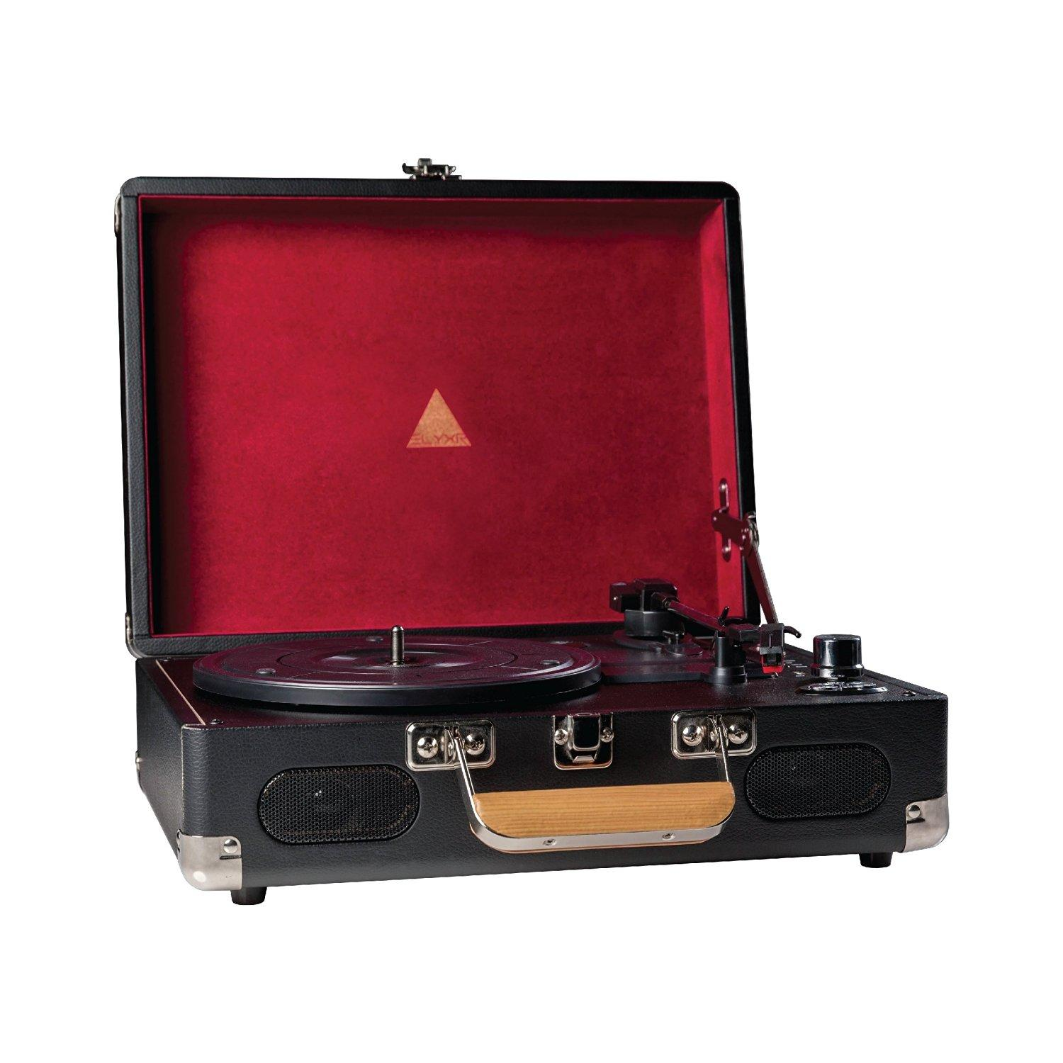 Elyxr Revolution Vinyl Player Black and Burgundy