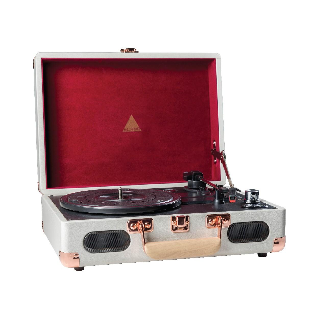 Elyxr Revolution Vinyl Player Grey & Burgundy