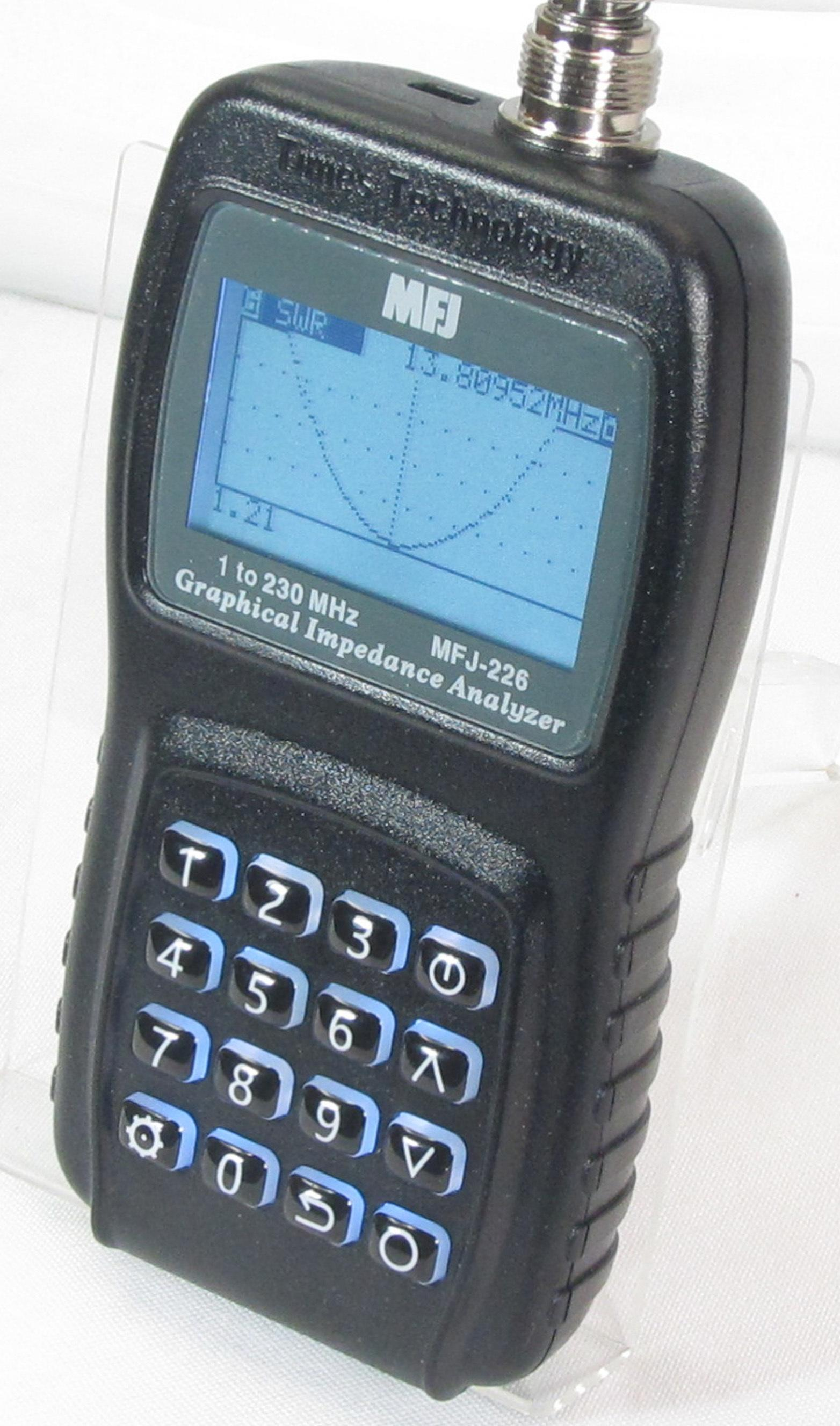 MFJ-226 Antenna Analyzer covers 1 to 230 MHz, 1Hz resolution.