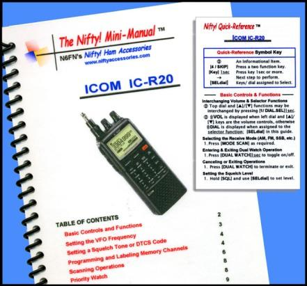 Icom IC-R20 Nifty Mini Manual and Card