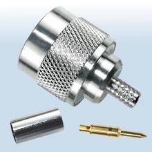 N Type Crimp Plug, Nickel Plated