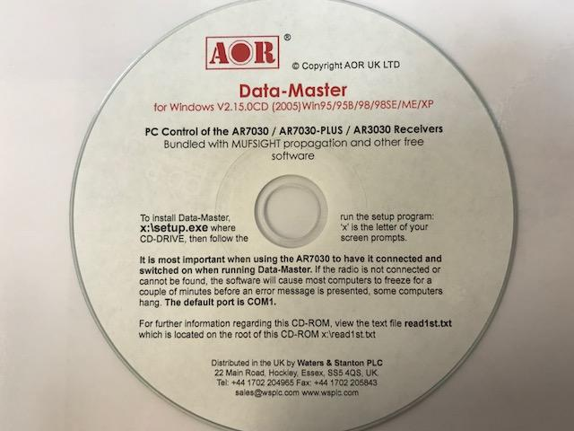 AOR DATA-MASTER-CD PC Control Data Base & more for AR-7030