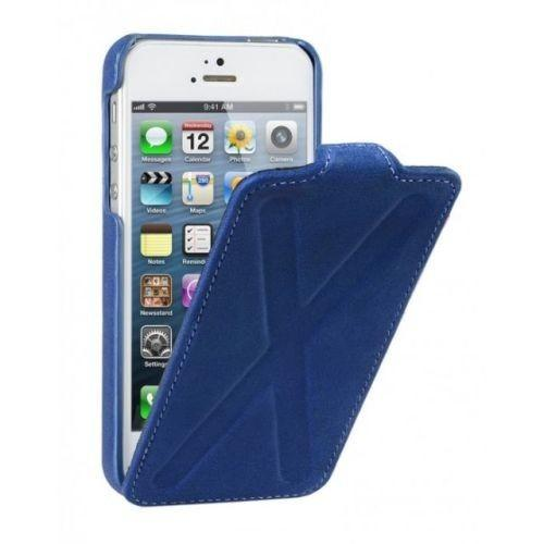 Decoded iPhone 5 5S Leather Flip Case Cross Design Blue
