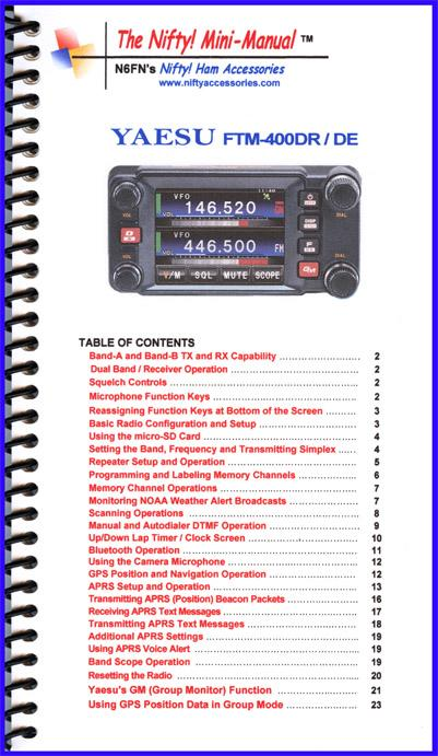 FTM-400DR/  DE Nifty Mini Manual