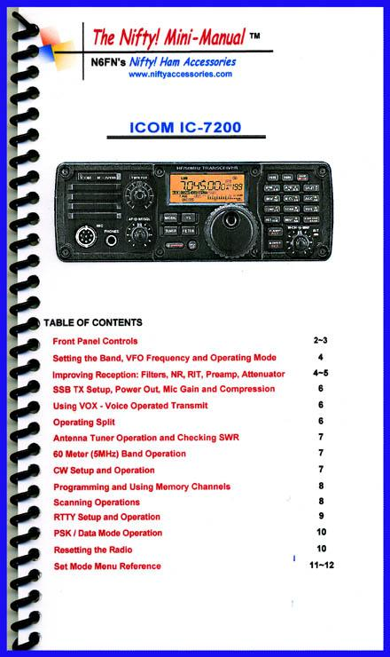IC-7200 Nifty Mini Manual