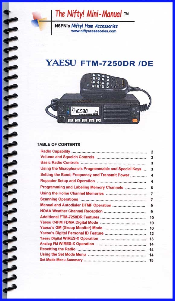 Nifty Manual Yaesu FTM-7250DR Mini-Manual 1