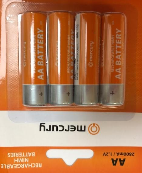 Mercury AA Size NIMH Battery 280maH 4PC/PK