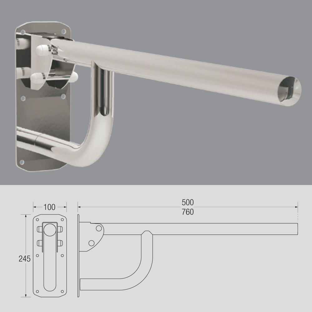 35mm Polished Single Arm Hinged Support Rail (Stainless Steel)