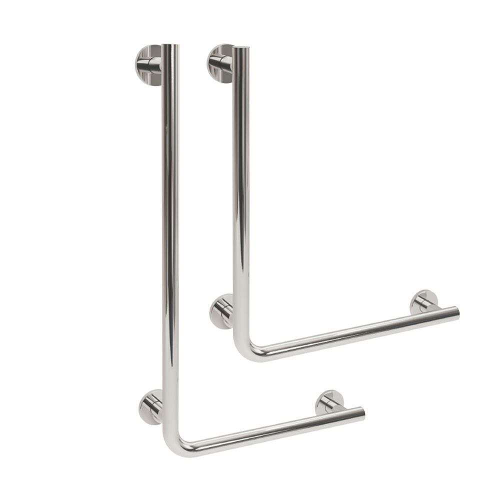 Yardley L Shaped Rail in 35mm Stainless Steel Right Handed