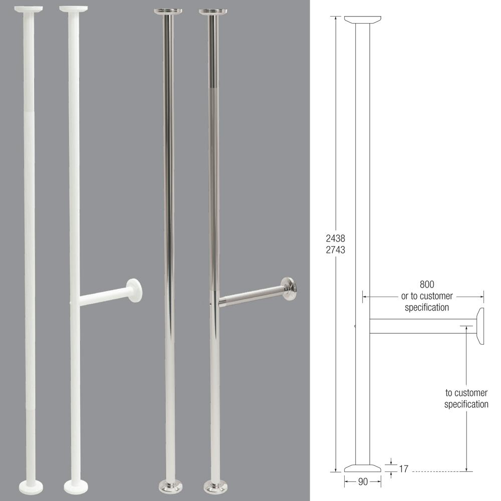 Pro 35mm Grab Pole with Cross Rail (Stainless Steel)