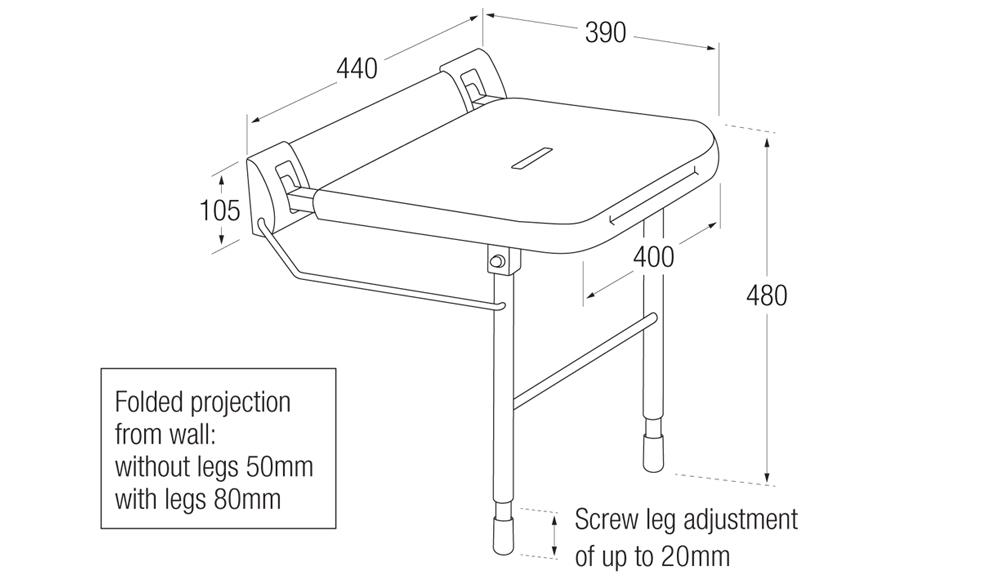 Shower Seat with One Piece Backplate Measurements