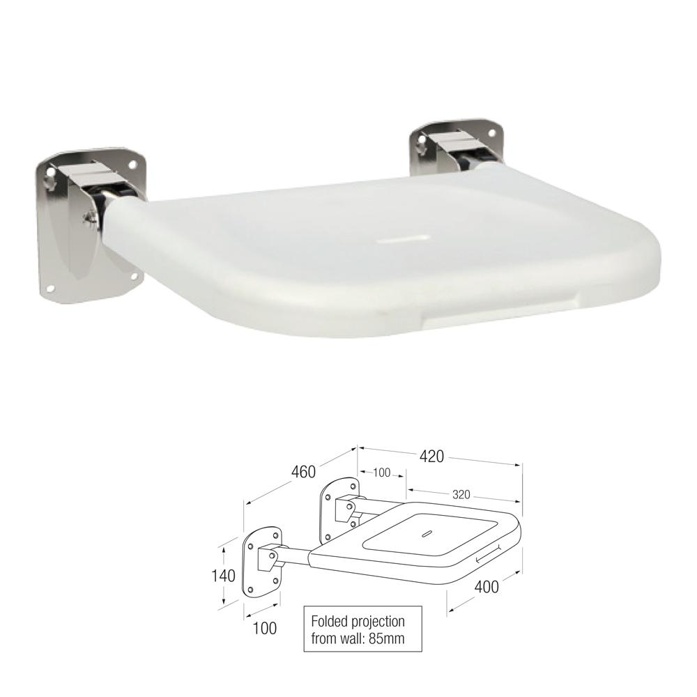 Friction Shower Seat in Plastic and Stainless Steel