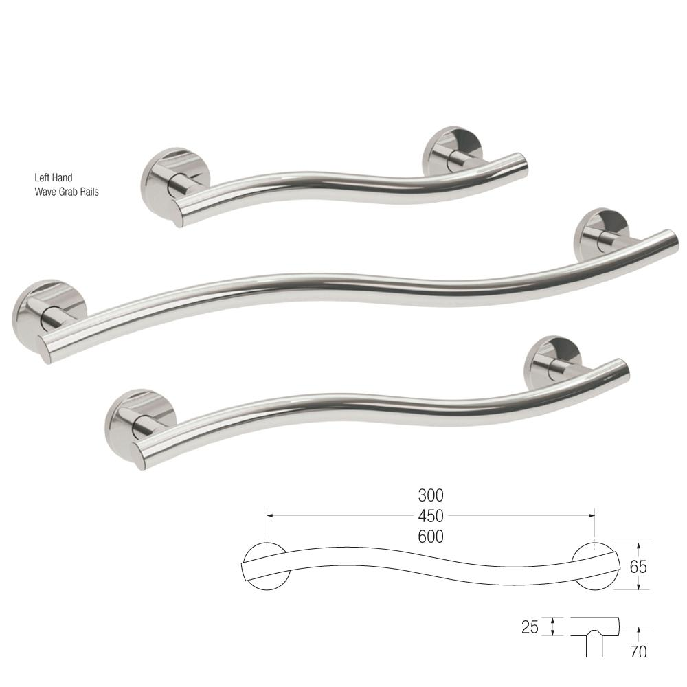 25mm Yardley Wave Grab Rail L/H (Stainless Steel)